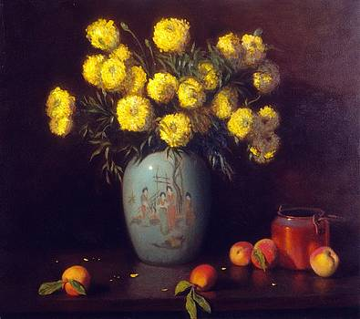 Chinese vase with yellow mums and fruit by David Olander