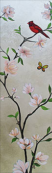Chinoiserie - Magnolias and Birds #3 by Shadia Derbyshire