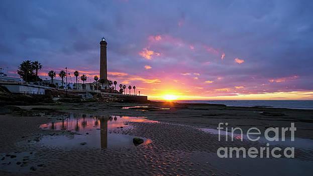 Chipiona Lighthouse at Dusk Cadiz Spain by Pablo Avanzini