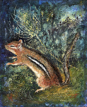 Chipmunk With Teasel by Diana Ludwig