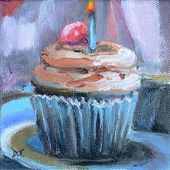 Chocolate Cupcake with Birthday Candle and Cherry on Top by Donna Tuten