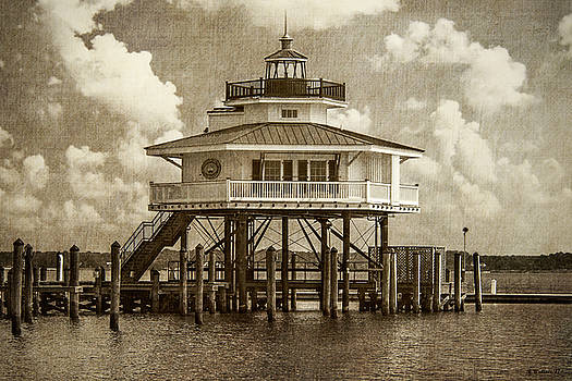 Choptank River Lighthouse - Sepia by Brian Wallace