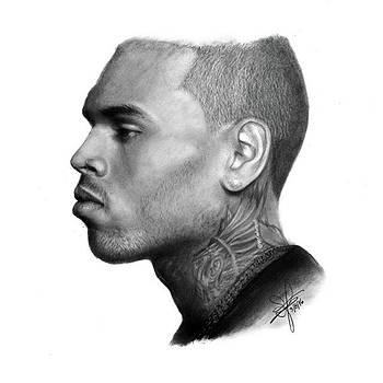 Chris Brown Drawing By Sofia Furniel by Jul V