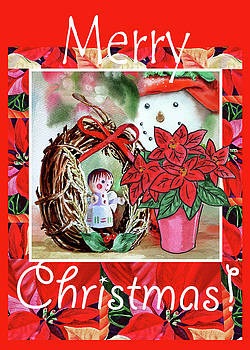 Irina Sztukowski - Christmas Angel Poinsettia And Snowman