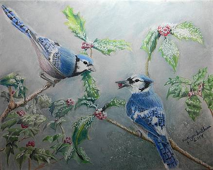 Christmas Bluejays by Kathryn Smithson