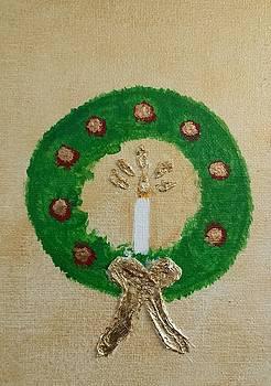 Christmas Candle Wreath by Judy Jones