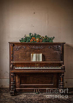 Christmas Card with Piano in Old Church by T Lowry Wilson
