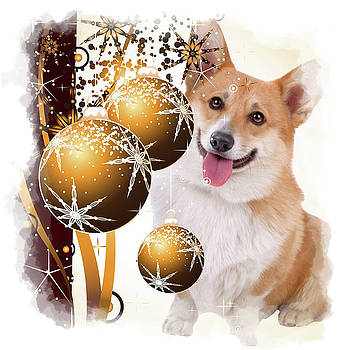 Christmas Corgi with Ornaments by Kathy Kelly