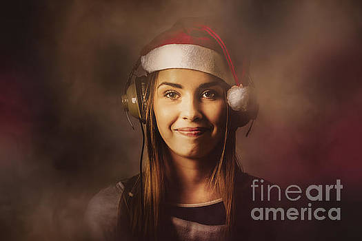 Christmas disco DJ woman by Jorgo Photography - Wall Art Gallery