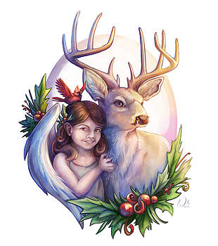Christmas girl and deer by Cass Womack
