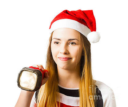 Christmas girl on a search and find present hunt by Jorgo Photography - Wall Art Gallery