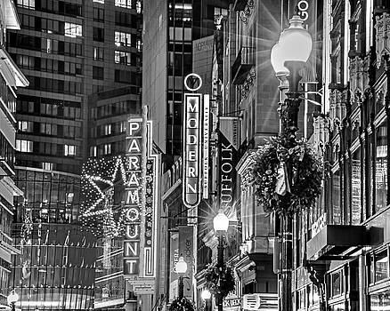 Toby McGuire - Christmas in Downtown Boston MA Paramounr Washington Street Black and White