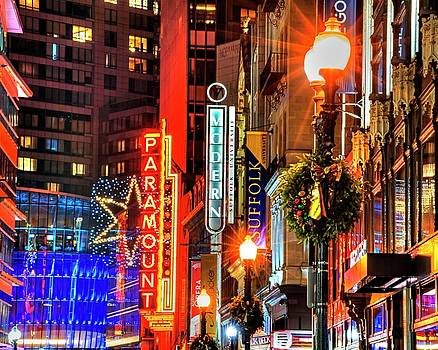 Christmas in Downtown Boston MA Paramounr Washington Street by Toby McGuire