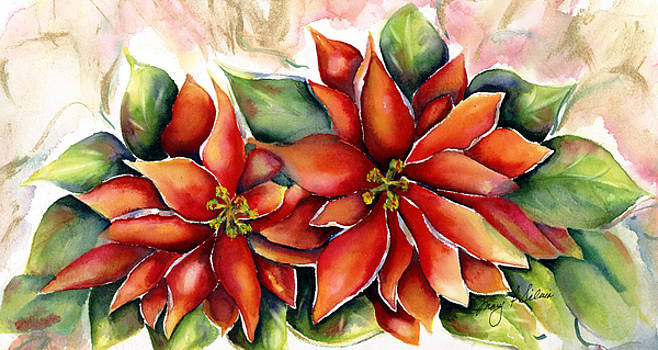 Christmas Poinsettias by Mary Silvia