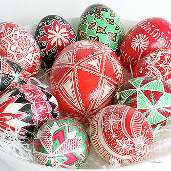 Christmas Pysanky square image by E B Schmidt