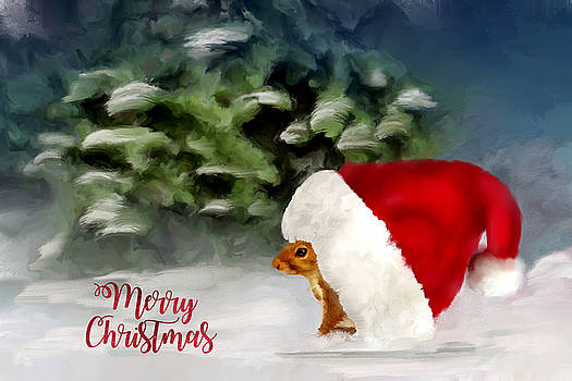 Christmas Squirrel  Greeting Card by Mary Timman