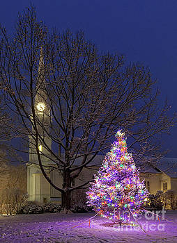Christmas tree and church, Maine by Kevin Shields