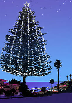 Christmas Tree at Moonlight Beach Encinitas, California by Mary Helmreich