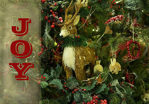 Christmas Tree Reindeers Joy by Sandi OReilly