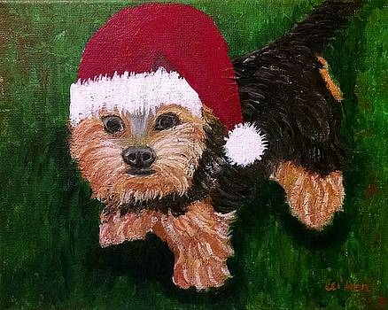 Christmas Yorkie Dog by Lei Wen