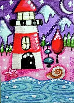 Christmasy Lighthouse by Monica Resinger