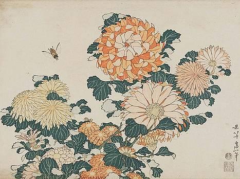 Katsushika Hokusai - Chrysanthemums And Horsefly