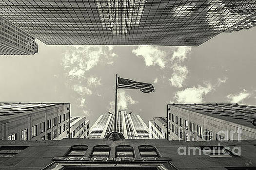 Chrysler Building American Flag Black and White by Nishanth Gopinathan