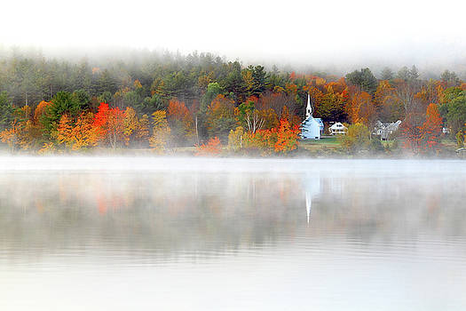 Church across the lake by Brian Pflanz