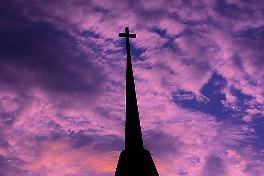Church Cross in the Purple sky with cloud's by Robert D  Brozek