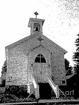 Church in Montana Engraved Effect by Karen Francis