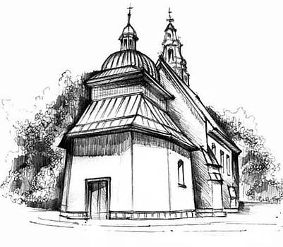 church in the town near Krakow in Poland by Dariusz Kronowski