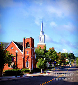 Church on Main Street - Christiansburg Virginia  by Kerri Farley