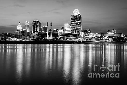 Paul Velgos - Cincinnati Night Skyline Black and White Photo