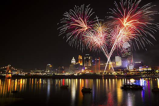 Cincinnati Reds Fireworks  by Craig Bowman