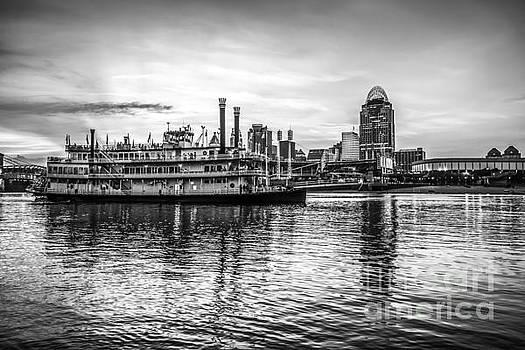 Paul Velgos - Cincinnati Skyline and Riverboat in Black and White