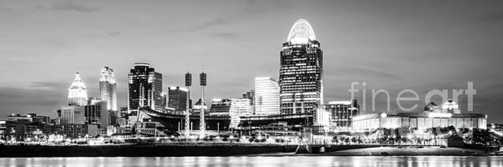 Paul Velgos - Cincinnati Skyline Black and White Panorama Photo