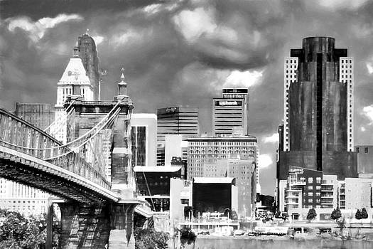 Mel Steinhauer - Cincinnati Skyline In Black And White