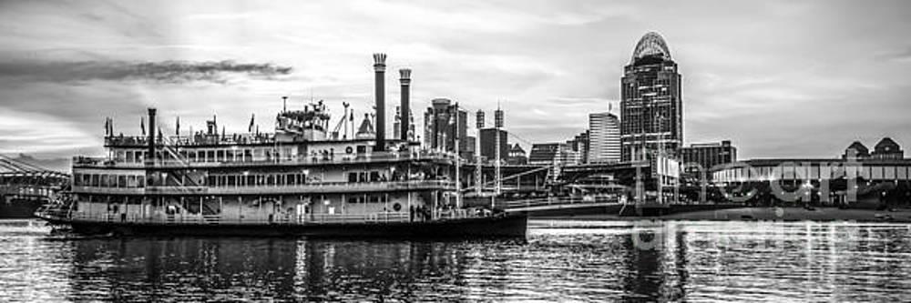 Paul Velgos - Cincinnati Skyline Panorama in Black and White