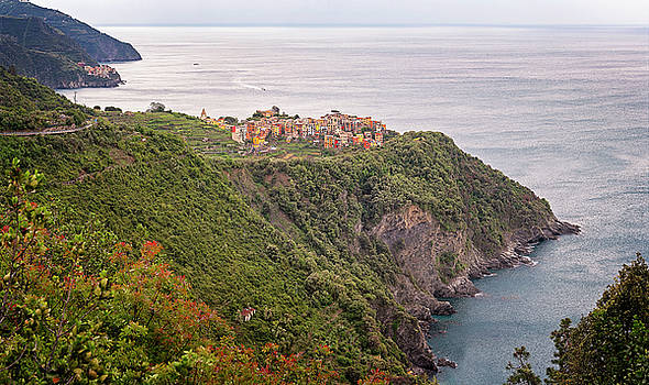 Cinque Terre Italy Panorama by Joan Carroll