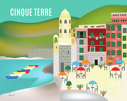 Cinque Terre, Vernazza, Italy Horizontal Skyline by Karen Young