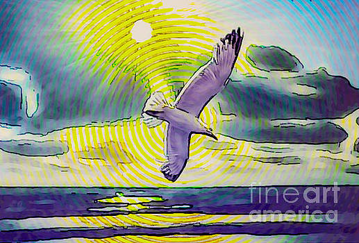 Circle watercolor seascape with seagull by Algirdas Lukas