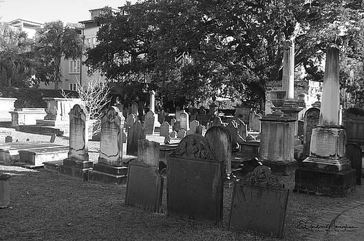 Circular Congregational Church Graveyard BW 2 by Gordon Mooneyhan