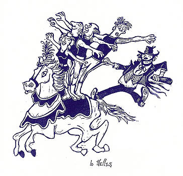 Circus Acrobats on Horse with Clown by Barry Nelles Art