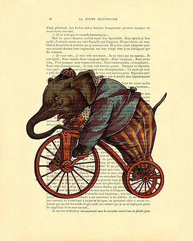 Circus elephant on bicycle by Madame Memento