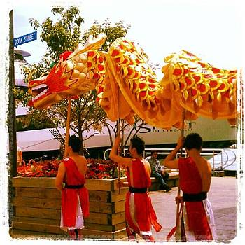 Cirque Shanghai Acrobats With Dragon by Tammy Winand