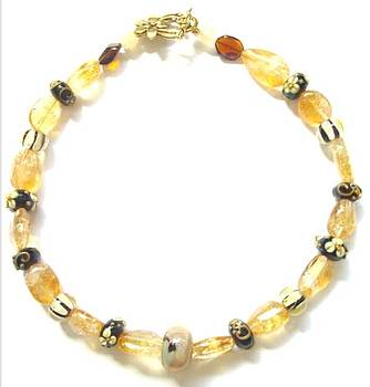 Citrine with Brown Lamp Work Beads by Pat Stevens