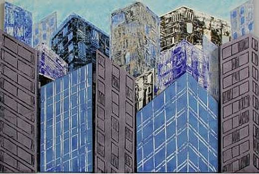 City Angles In Blue by Norine Zapata