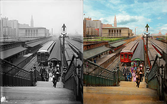 City - Chicago - The Van Buren Street Station 1907 - Side by Side by Mike Savad