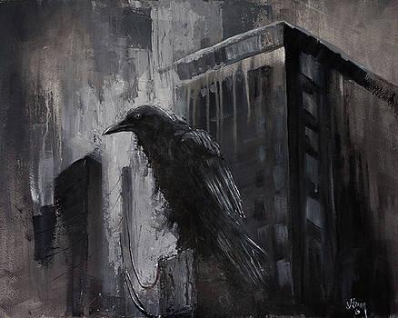 City Dweller Raven Dark Gothic Crow Wall Art by Gray Artus
