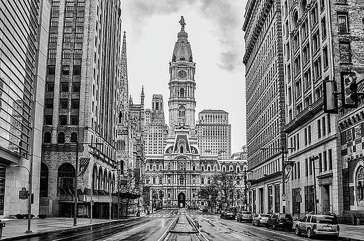 City Hall - Broad Street Philadelphia - Black and White by Bill Cannon